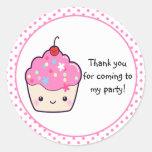 Cute Cupcake Thank You Classic Round Sticker