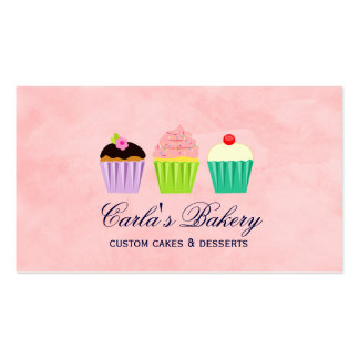 Cute Cupcake Trio Business Card