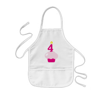 Cute Cupcake with Birthday Candle Aprons