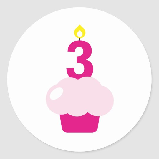 Cute Cupcake with Birthday Candle Classic Round Sticker
