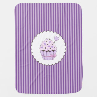 Cute Cupcake With Purple Striped Background Pram blankets