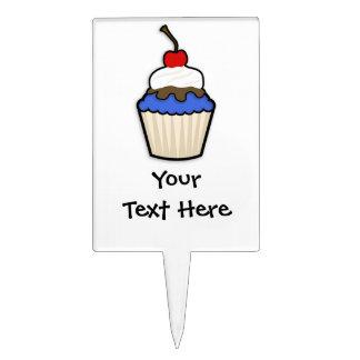 Cute Cupcake with Royal Blue Icing Cake Picks