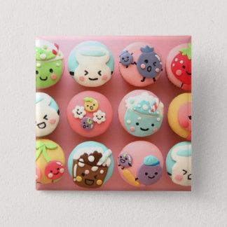 Cute cupcakes 15 cm square badge
