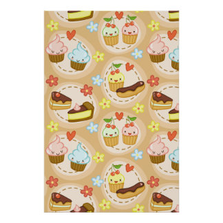 Cute cupcakes and hearts posters