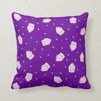 Cute Cupcakes and stars pattern deep purple Cushion