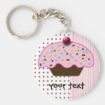 cute cupcakes basic round button key ring