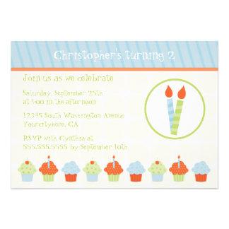Cute cupcakes neutral birthday party invitation