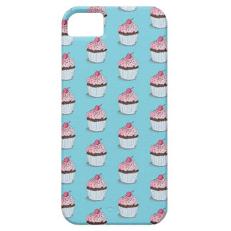 Cute Cupcakes on Blue Background iPhone 5 Covers