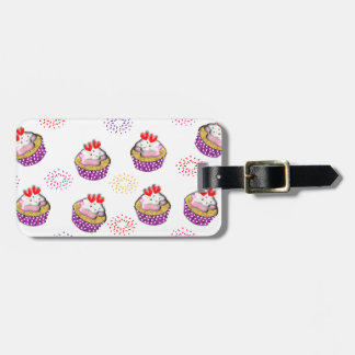Cute Cupcakes Sweet Red Hearts Ditsy Pattern Luggage Tag