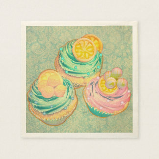 cute cupcakes with wallpaper design paper serviettes