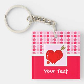 Cute Cupid Heart & Arrow Double-Sided Square Acrylic Keychain