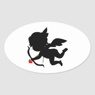 Cute Cupid Silhouette Oval Sticker