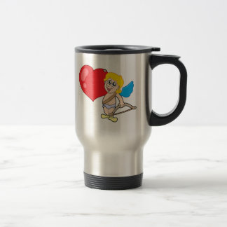 Cute Cupid with bow and heart Travel Mug