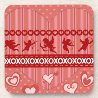 Cute Cupids and Hearts Valentine s Day Gifts Drink Coaster