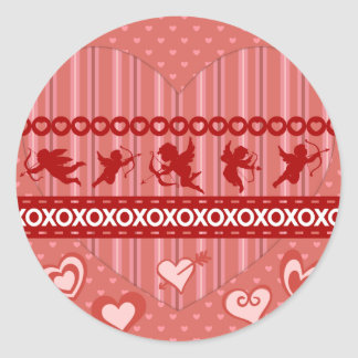 Cute Cupids and Hearts Valentine's Day Gifts Round Sticker