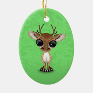 Cute Curious Baby Deer with Big Eyes on Green Christmas Ornament