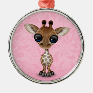Cute Curious Baby Giraffe on Pink Christmas Ornament