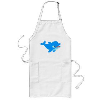 Cute Curious Cartoon Dolphin Long Apron