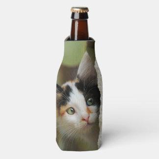 Cute Curious Cat Kitten Prying Eyes Head Photo Pet Bottle Cooler