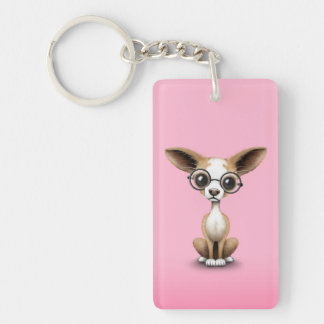 Cute Curious Chihuahua Wearing Eye Glasses Pink Double-Sided Rectangular Acrylic Keychain