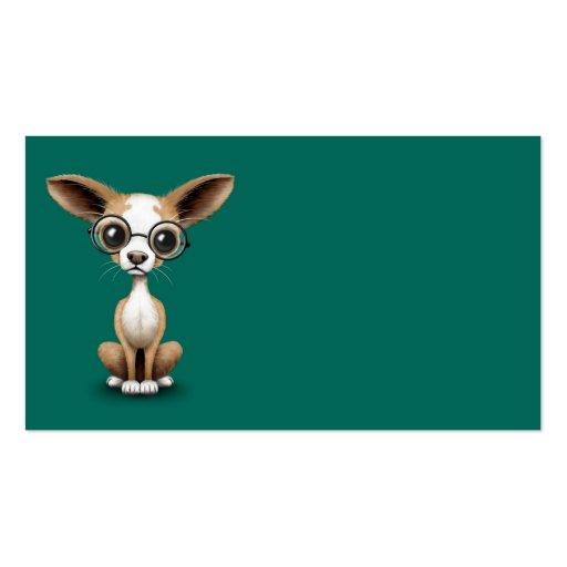 Cute Curious Chihuahua Wearing Eye Glasses Teal Business Card