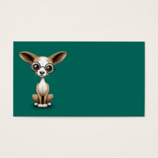Cute Curious Chihuahua Wearing Eye Glasses Teal Business Card