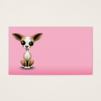Cute Curious Chihuahua with Large Ears on Pink Business Card