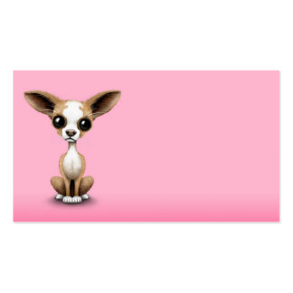 Cute Curious Chihuahua with Large Ears on Pink Pack Of Standard Business Cards