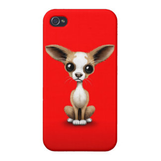 Cute Curious Chihuahua with Large Ears on Red iPhone 4 Case