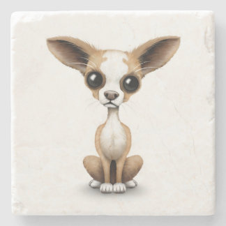 Cute Curious Chihuahua with Large Ears on White Stone Coaster