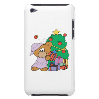 cute curious christmas bear barely there iPod covers