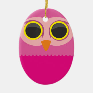 Cute curious owl pink christmas ornament