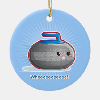 Cute Curling Stone Christmas Ornament