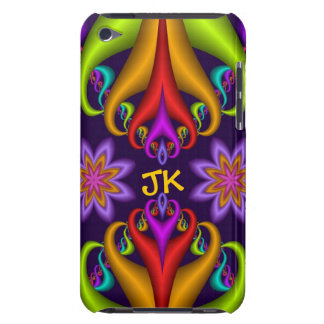 Cute curly abstract design with flowers & monogram iPod touch covers