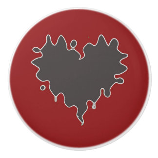 Cute Curly Heart Black on Red Ceramic Knob