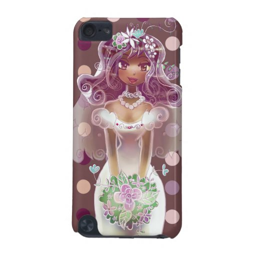 Cute Curly Purple Hair Bride Illustration iPod Touch 5G Case