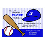 Cute Custom Baseball Birthday Party Blue and White 4.5x6.25 Paper Invitation Card