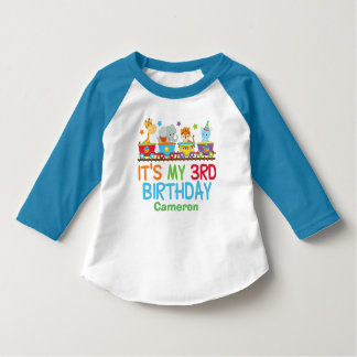 Cute Custom Circus Animal Train 3rd Birthday T-Shirt