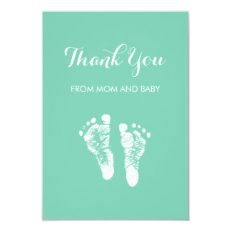 Cute Custom Color Baby Footprints Thank You 9 Cm X 13 Cm Invitation Card
