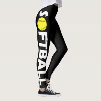Cute Custom Colour Softball Leggings