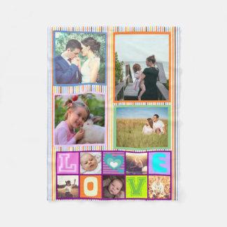 Cute custom family photo collage memories fleece blanket