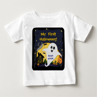 Cute Custom Halloween Ghost & Friends Baby T-Shirt