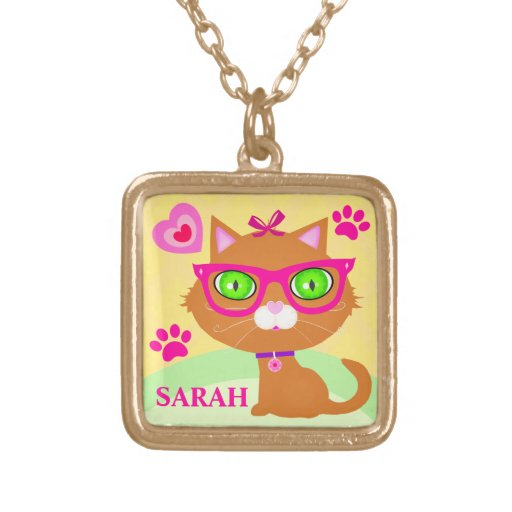 Cute Custom Hipster Cat Necklace