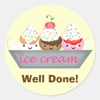 Cute Custom Kawaii Icecream Reward Sticker