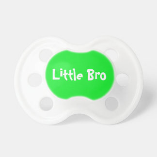 """Cute Custom """"Little Bro"""" Brother Green Baby Pacifier"""
