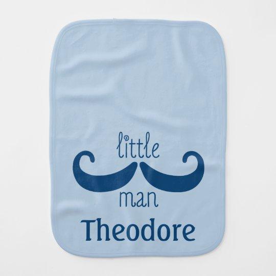 Cute Custom Little Man Moustache Personalised Blue Burp