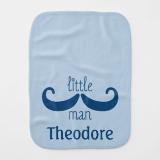 Cute Custom Little Man Mustache Personalized Blue Burp Cloth