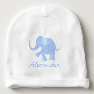 Cute Custom Name Pastel Blue Baby Elephant Baby Beanie