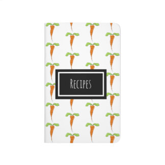 Cute Custom Name Recipe Carrot Notebook Journal