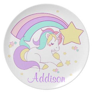 Cute Custom Personalized Magical Rainbow Unicorn Plate